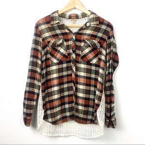 Lucky brand see through lace plaid shirt M